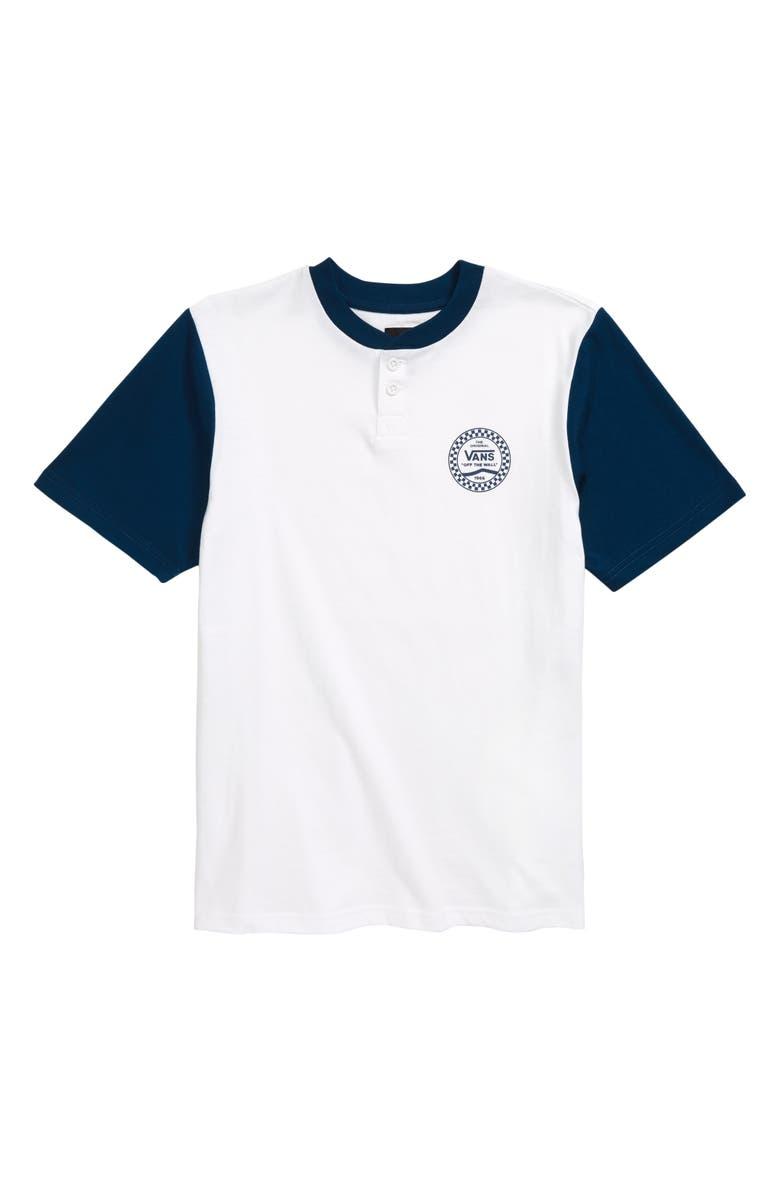 VANS Denton Henley Shirt, Main, color, WHITE/ GIBRALTAR SEA