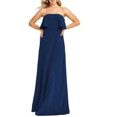 Show Me Your Mumu Monaco Strapless Ruffle Bodice Evening Gown, Blue