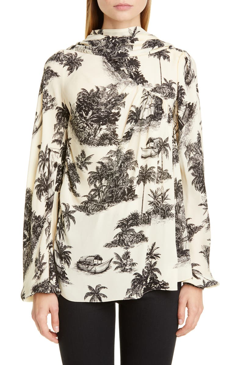 JOHANNA ORTIZ Palm Toile Print Silk Double Georgette Blouse, Main, color, BLACK/ ECRU