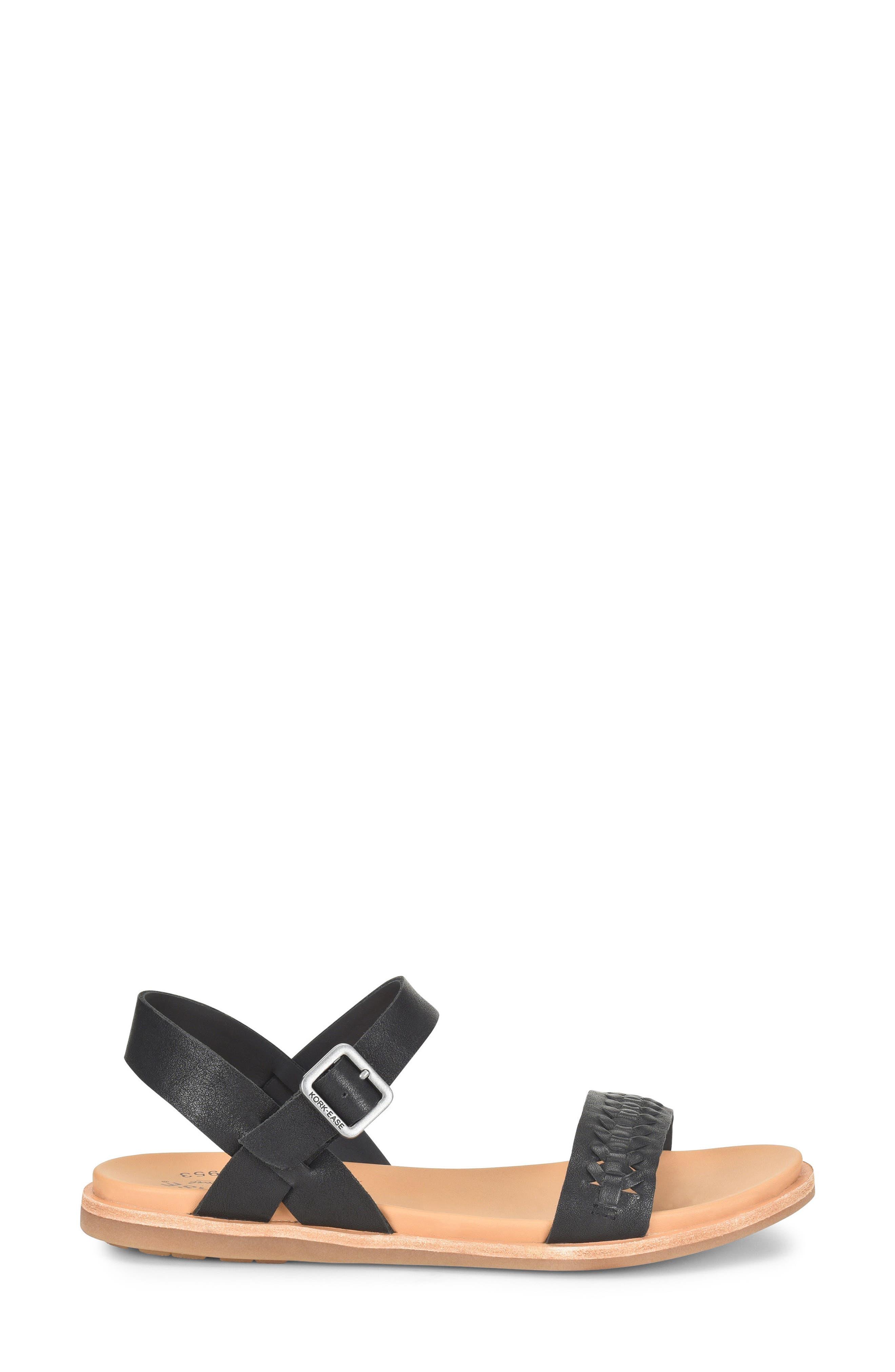,                             Yucca Braid Sandal,                             Alternate thumbnail 3, color,                             BLACK LEATHER