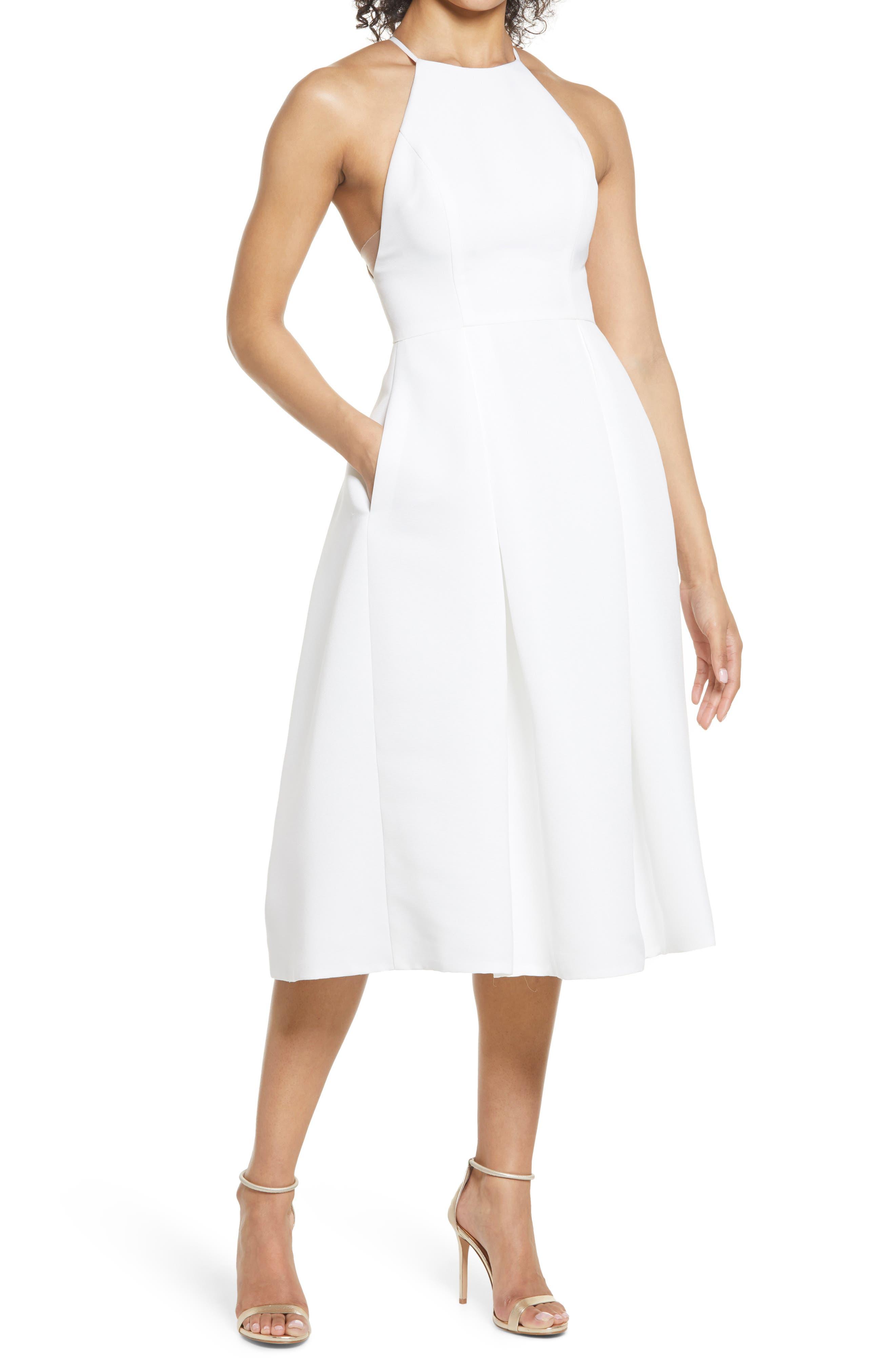 Amsale Faille Fit & Flare Midi Dress