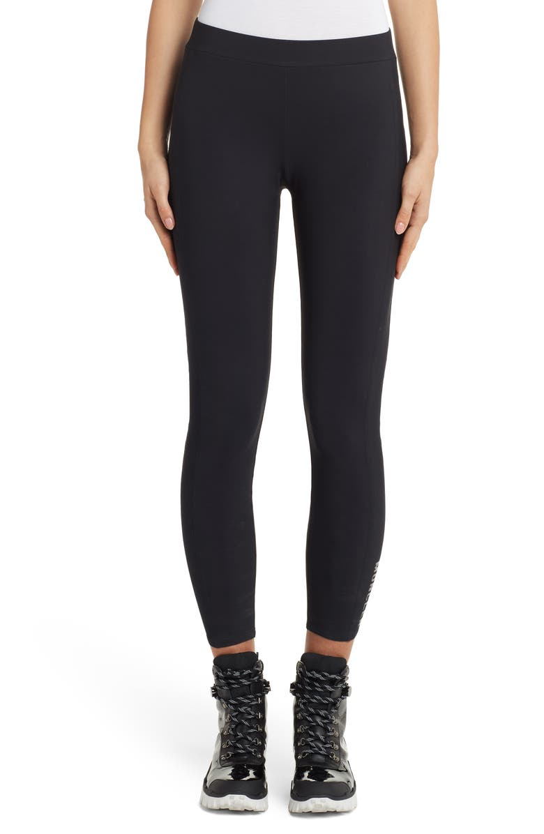 MONCLER Logo Crop Leggings, Main, color, BLACK