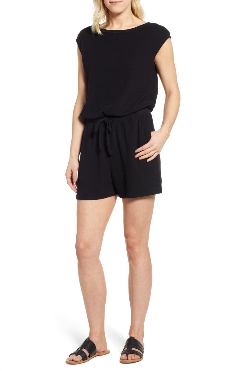 CASLON<SUP>®</SUP> Knit Romper, Main, color, 001