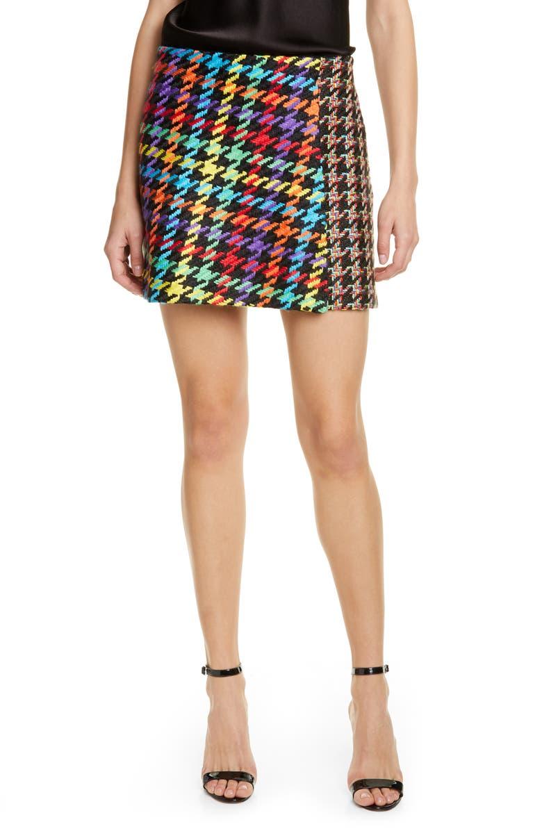 ALICE + OLIVIA Darma Combo Crossover Miniskirt, Main, color, BLACK MULTI