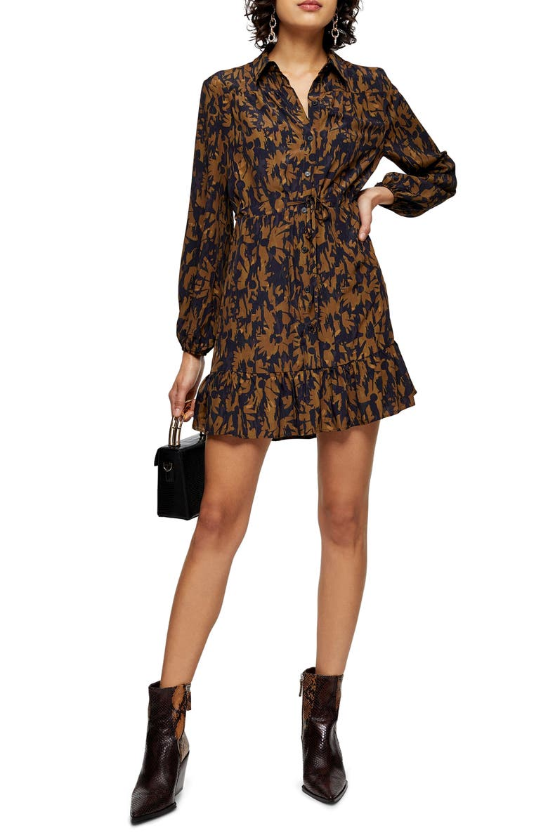TOPSHOP Floral Camouflage Long Sleeve Shirtdress, Main, color, GREEN MULTI