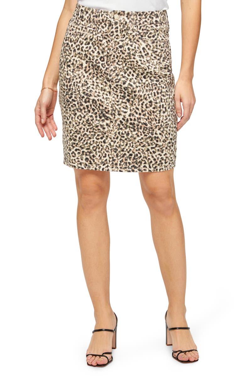 JEN7 Leopard Print Pencil Skirt, Main, color, SANDY LEOPARD