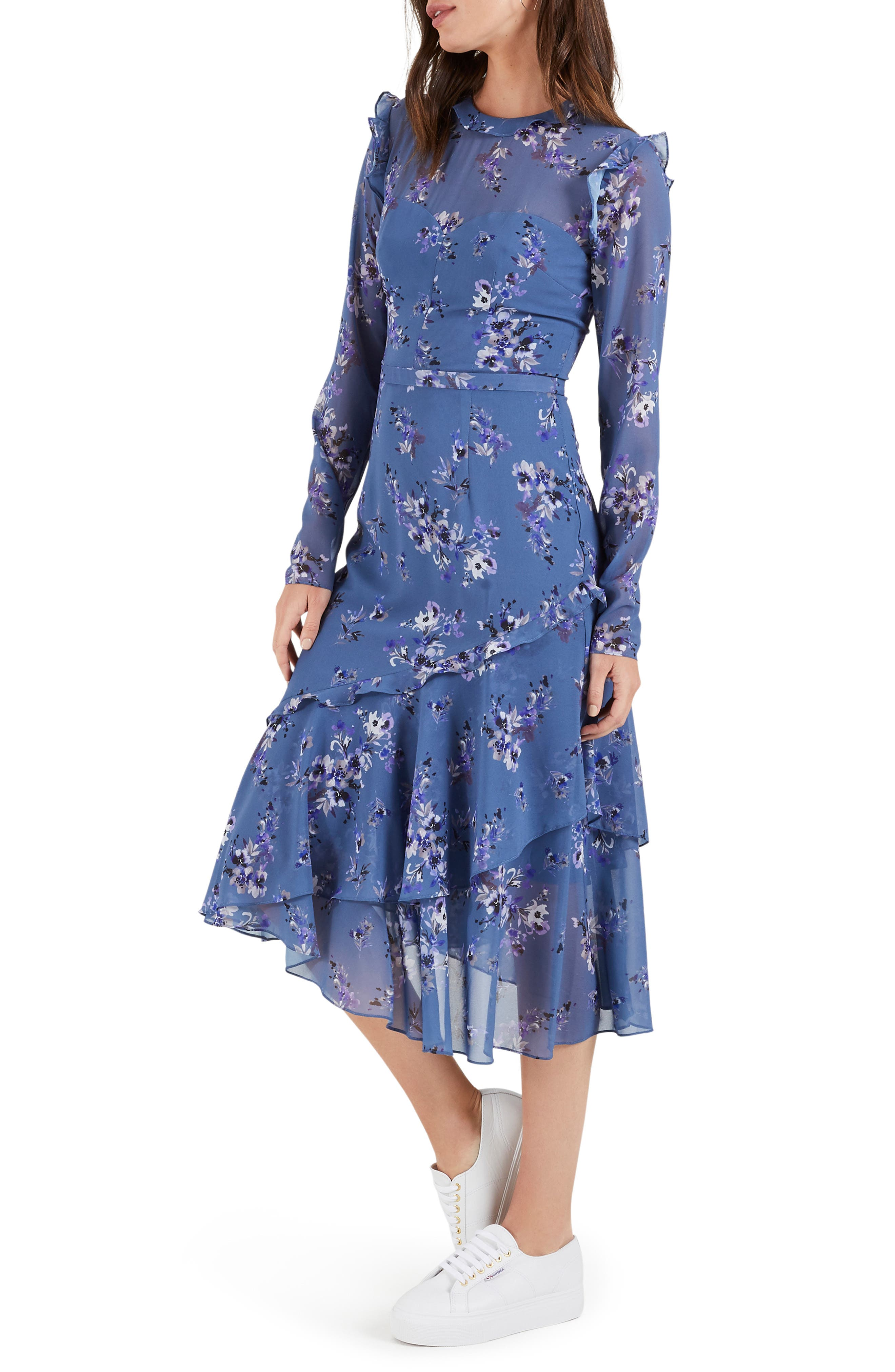 1930s Day Dresses, Afternoon Dresses History Womens Cooper St Heavenly Long Sleeve Ruffle Midi Dress $149.00 AT vintagedancer.com