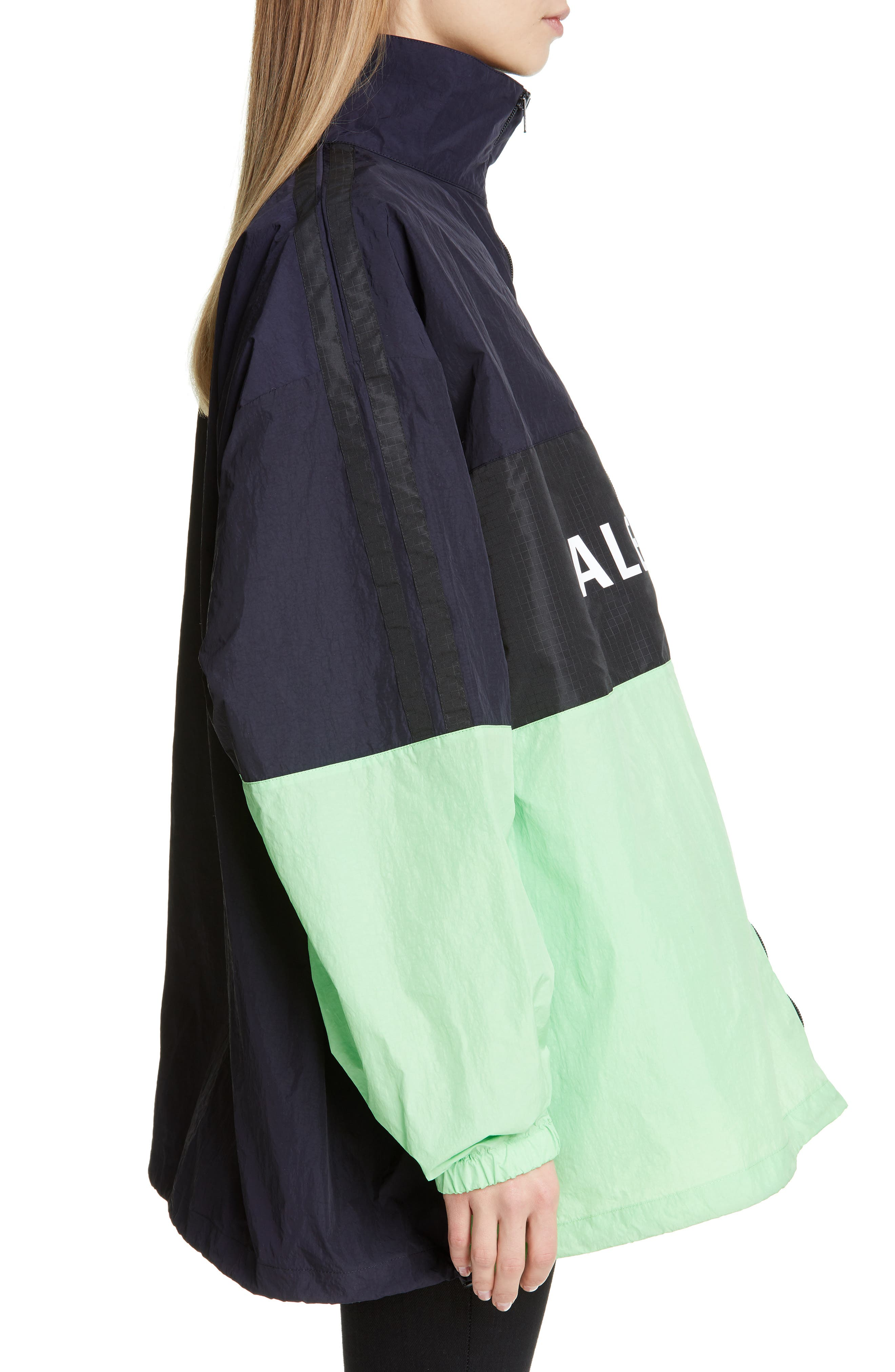 ,                             Logo Colorblock Windbreaker Jacket,                             Alternate thumbnail 3, color,                             FLUO GREEN