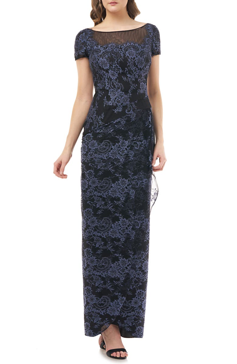 JS COLLECTIONS Drape Lace Column Gown, Main, color, NAVY BLACK