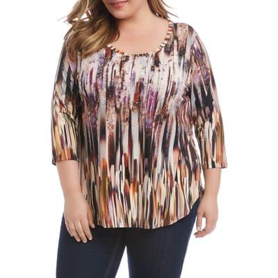 Plus Size Karen Kane Brushstroke Stripe Shirttail Tee, Purple
