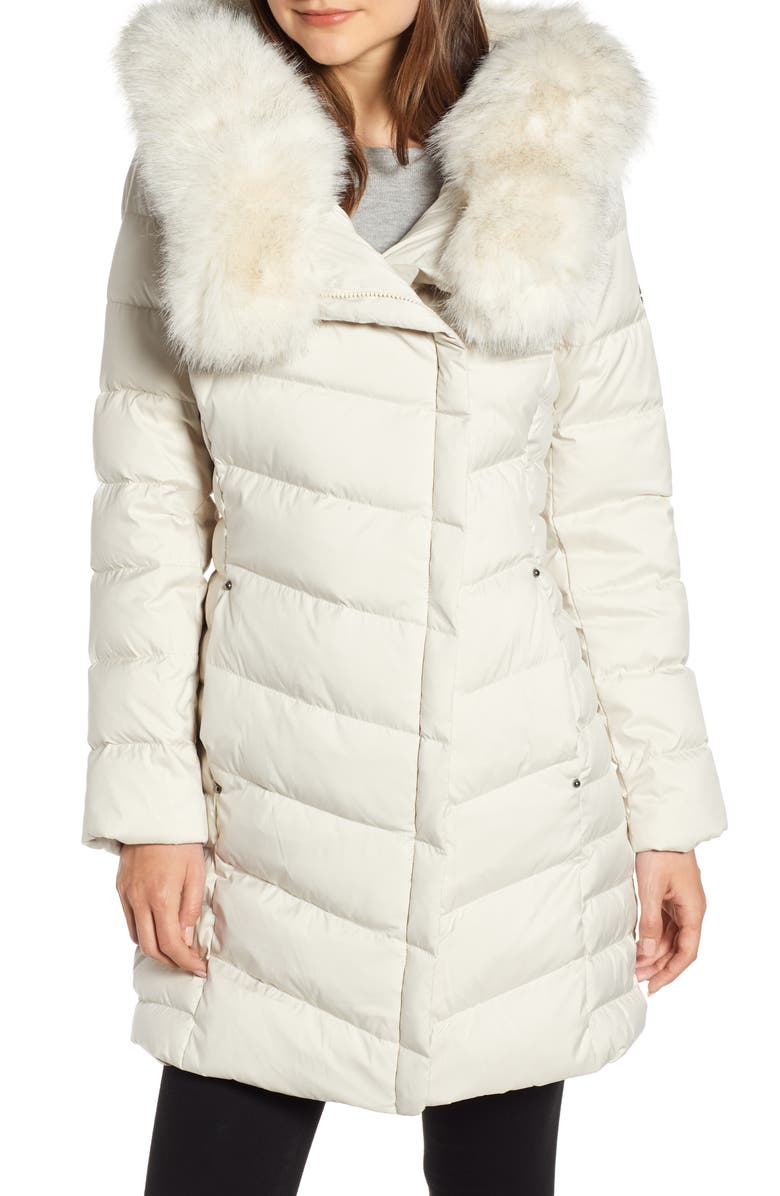 BERNARDO Oversized Faux Fur Hood Puffer Coat, Main, color, ALABASTER