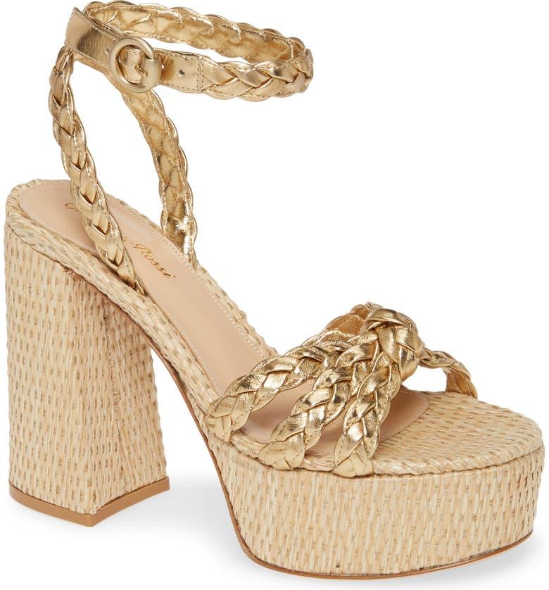 GIANVITO ROSSI Raffia Platform Sandal, Main, color, GOLD/ BEIGE