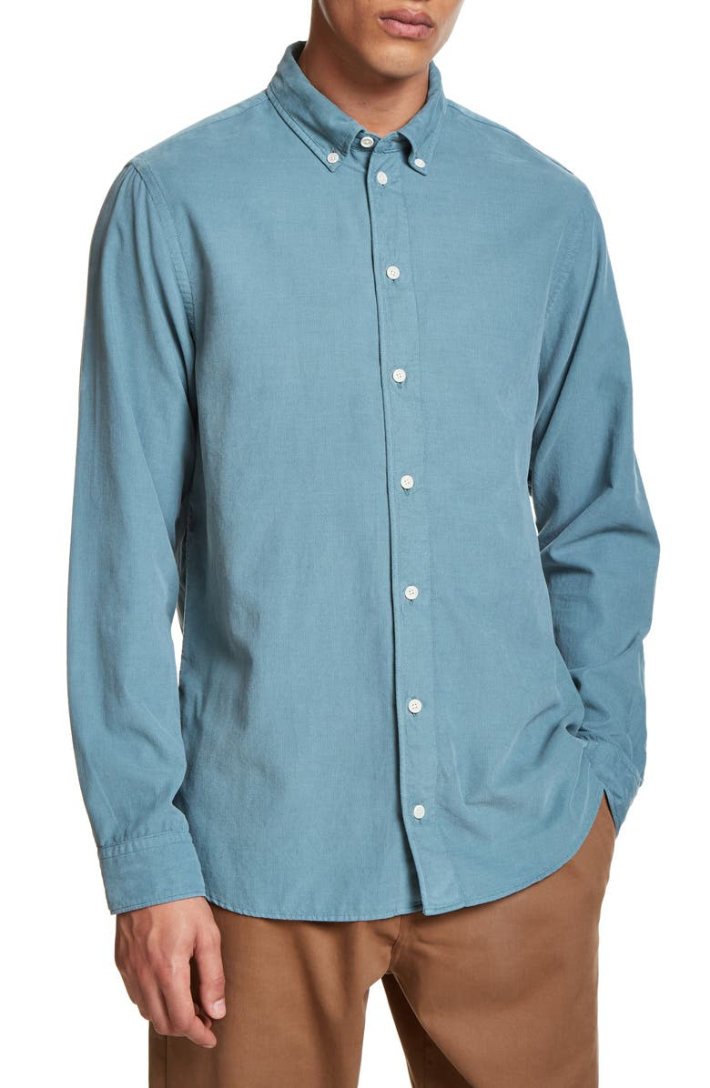 WAX LONDON Bampton Button-Down Corduroy Shirt, Main, color, STORMY SEA CORD