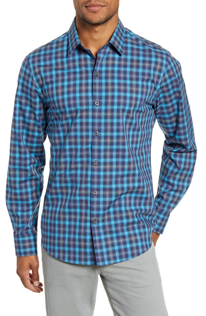 ZACHARY PRELL Ojeda Regular Fit Plaid Button-Up Shirt, Main, color, DARK AQUA