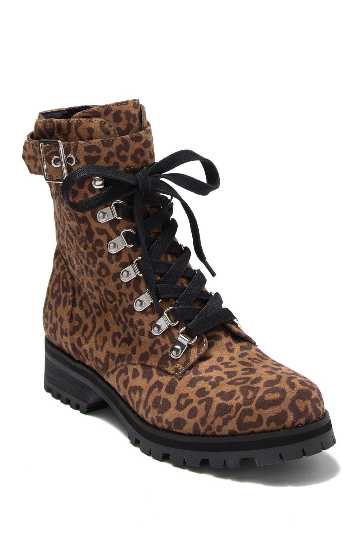 Victor Leopard Print Combat Boot