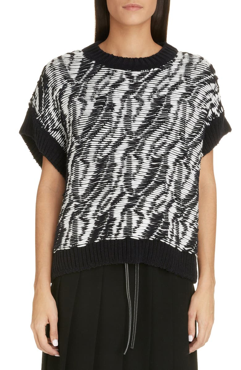LOEWE Graphic Reverse Float Jacquard Sweater, Main, color, BLACK/ WHITE