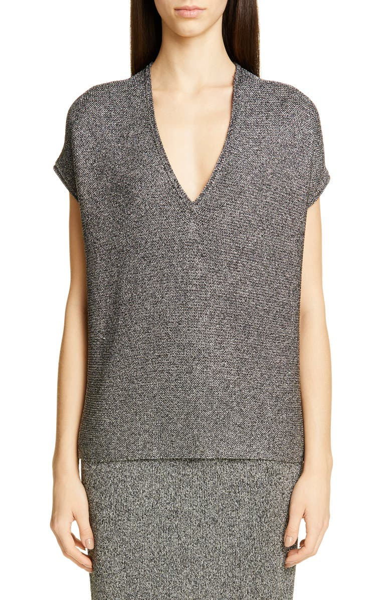ST. JOHN COLLECTION V-Neck Marled Link Knit Sweater, Main, color, CAVIAR/ SILVER