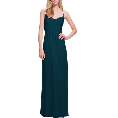 #levkoff Surplice Neck Chiffon Gown, Blue