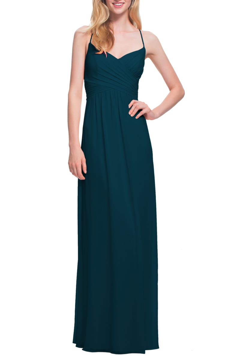 #LEVKOFF Surplice Neck Chiffon Gown, Main, color, NAVY