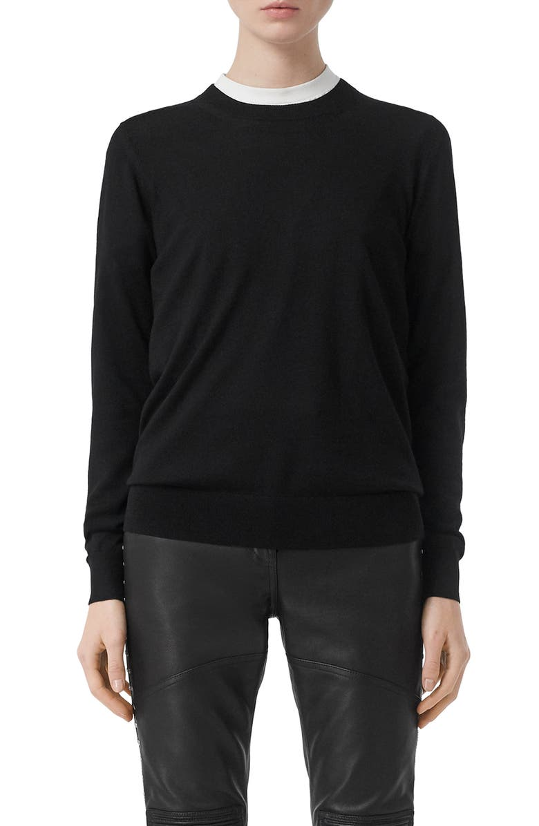 BURBERRY Bempton Vintage Check Elbow Patch Merino Wool Sweater, Main, color, BLACK