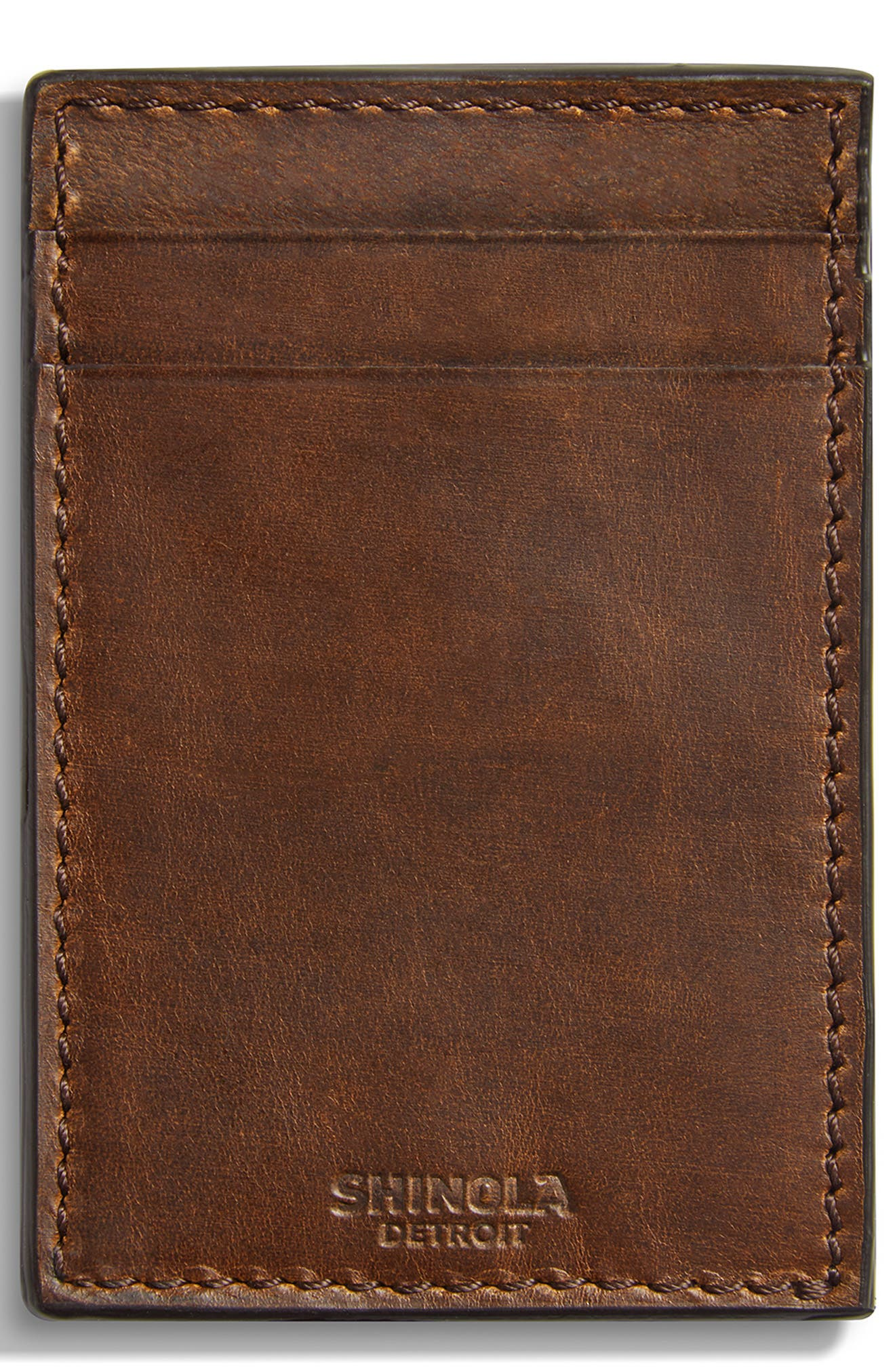 Navigator Leather Money Clip Card Case, Main, color, MEDIUM BROWN