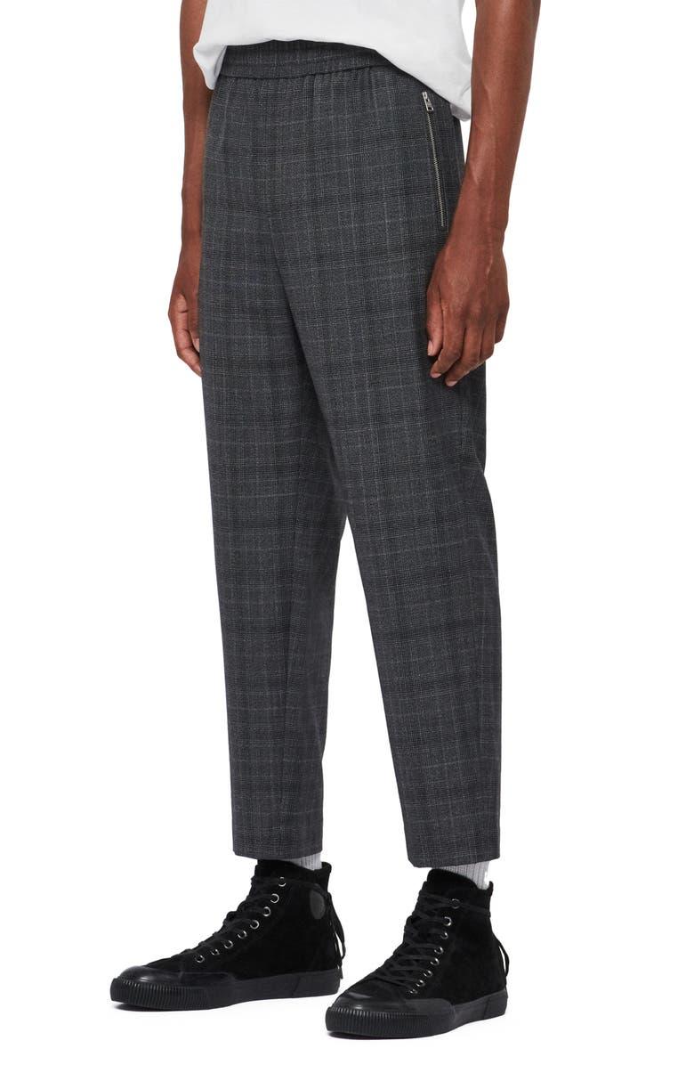 ALLSAINTS Agar Plaid Trousers, Main, color, GREY