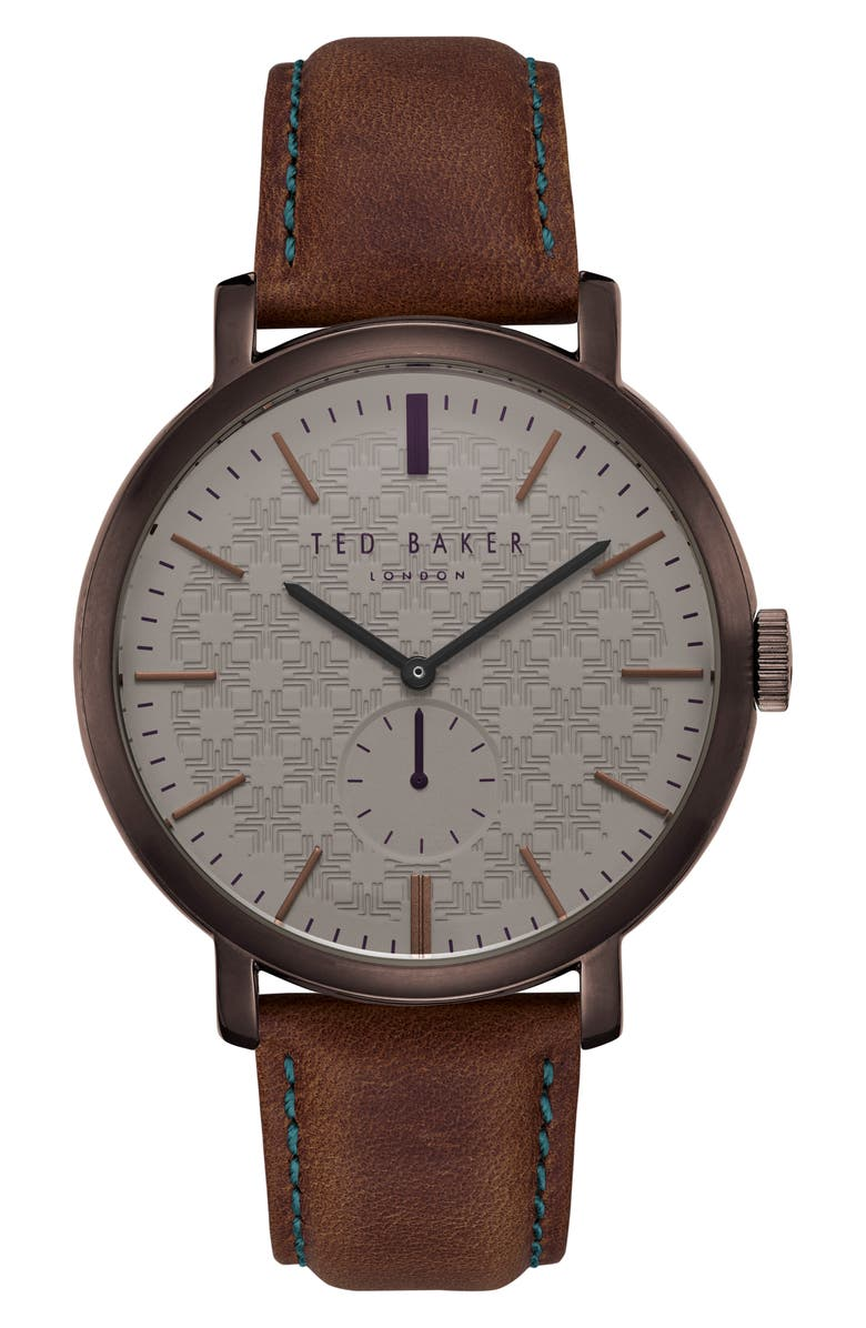 TED BAKER LONDON Trent Leather Strap Watch, 44mm, Main, color, 201