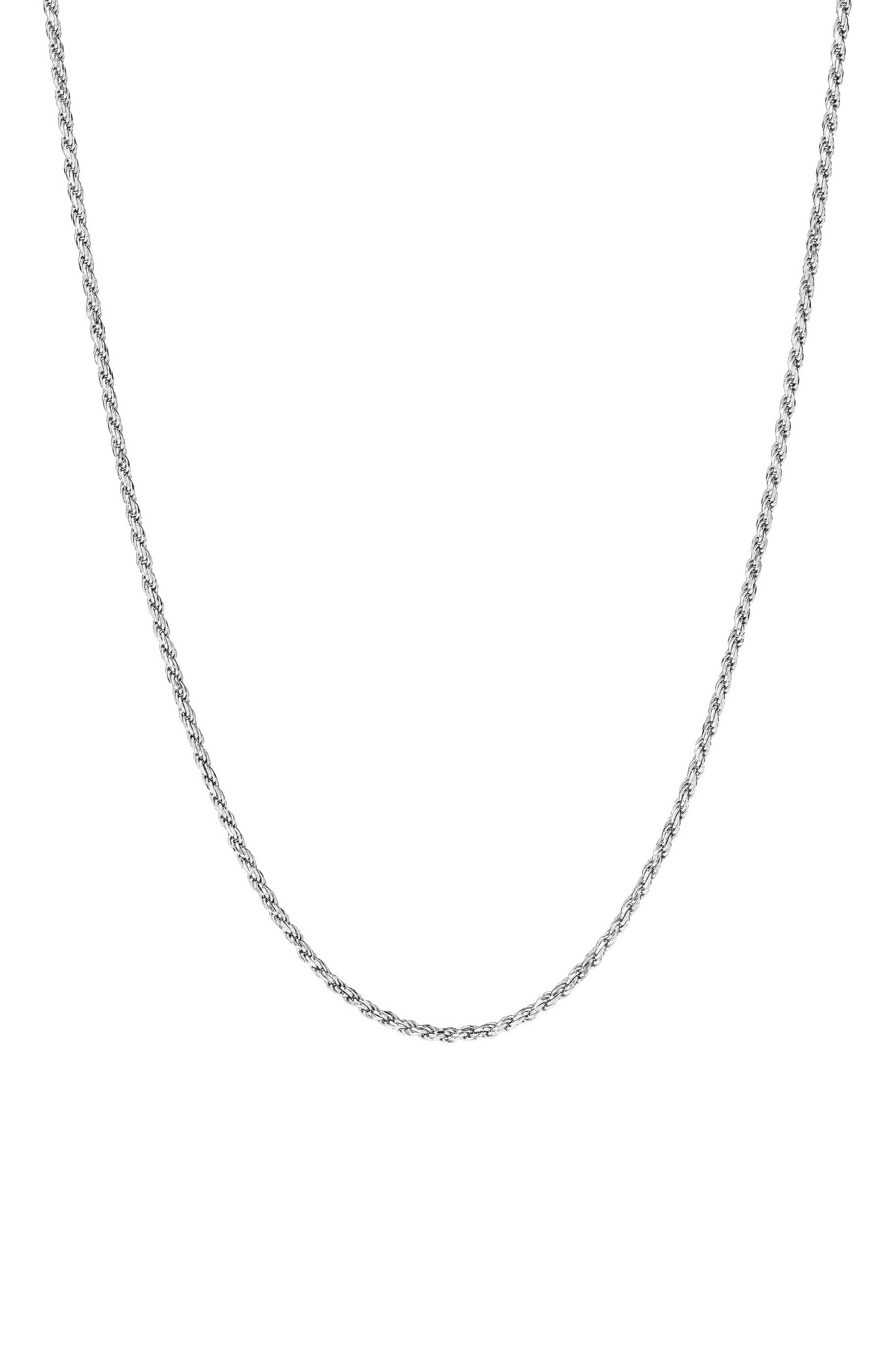 Men's Sterling Silver Rope Chain Necklace