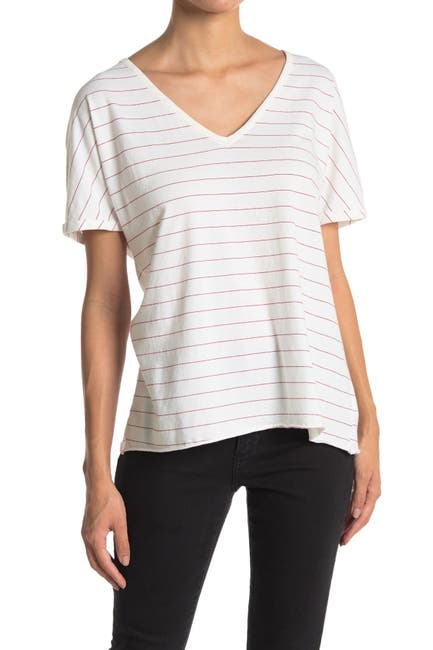 Image of FRANK & EILEEN Striped V-Neck T-Shirt