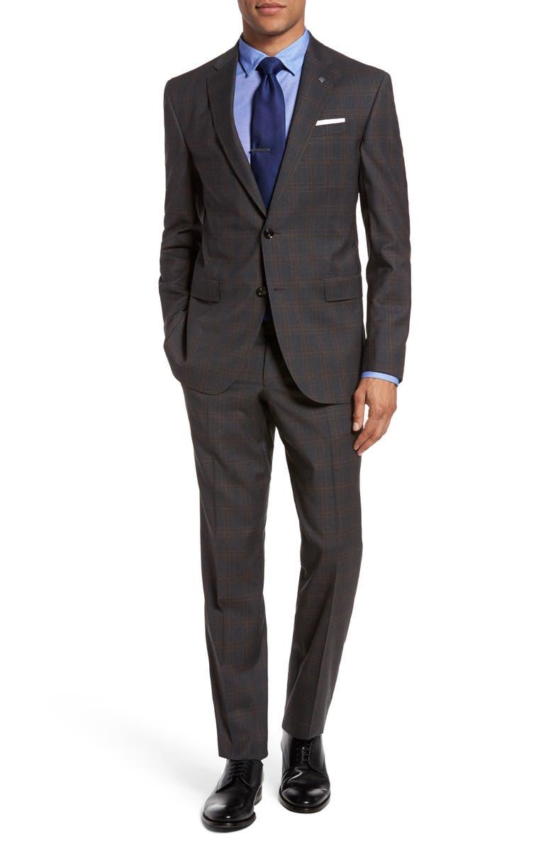 TED BAKER LONDON Jay Trim Fit Plaid Wool Suit, Main, color, 020
