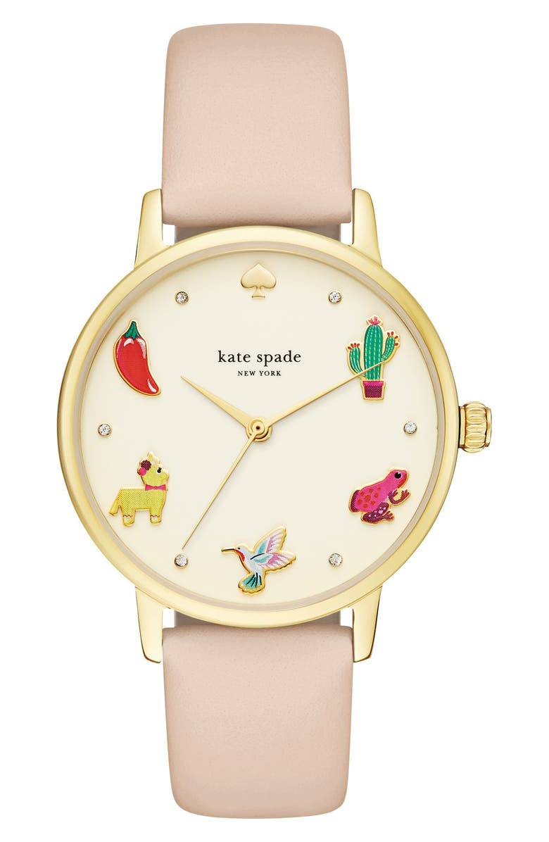 KATE SPADE NEW YORK metro novelty leather strap watch, 34mm, Main, color, 250