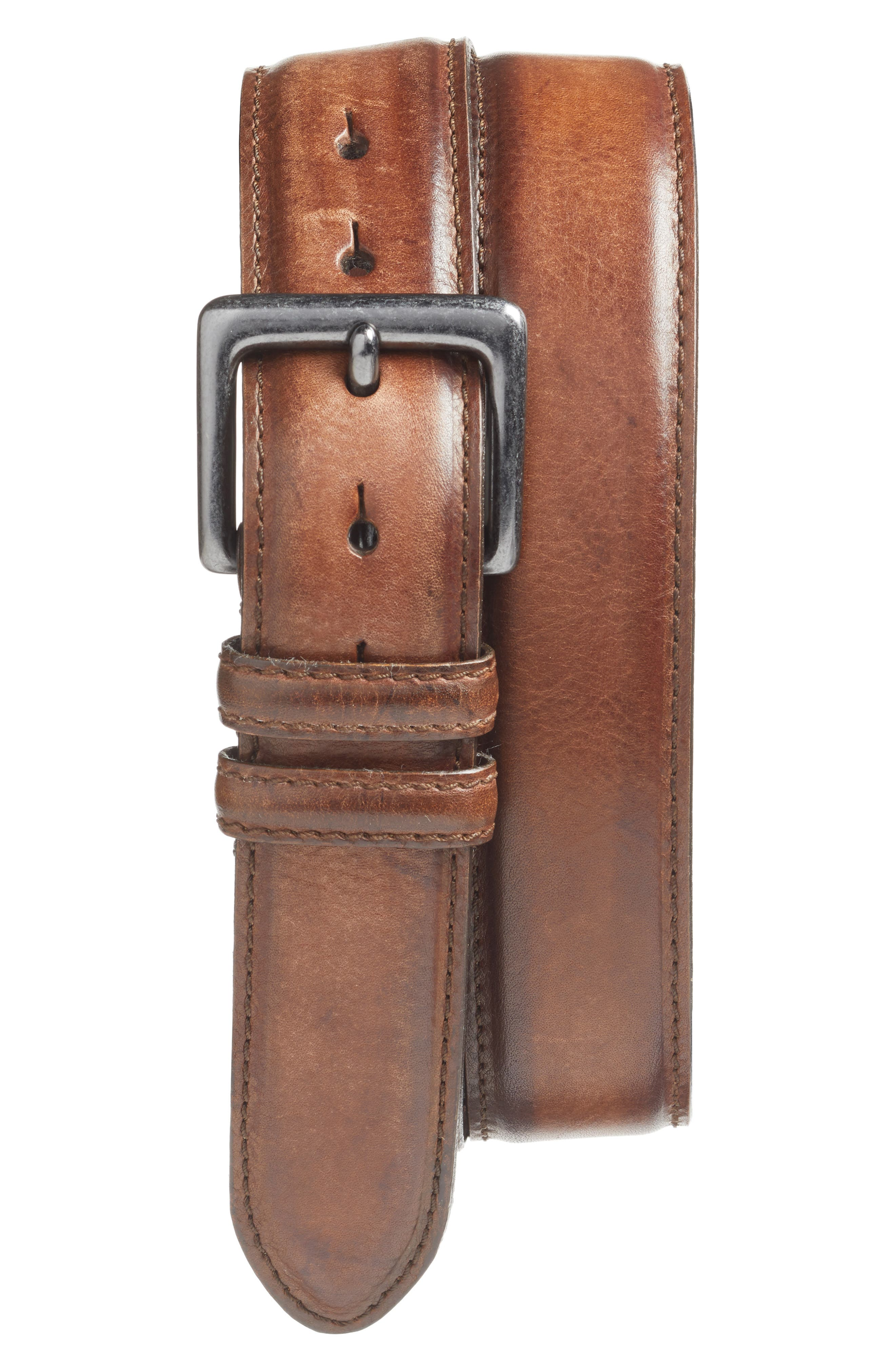 Antiqued leather elevates a fine, American-made belt featuring a weathered nickel-free buckle. Style Name: Torino Leather Belt. Style Number: 5365699. Available in stores.
