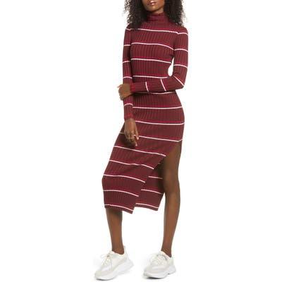 Lira Clothing Lola Long Sleeve Stripe Turtleneck Sweater Dress, Burgundy