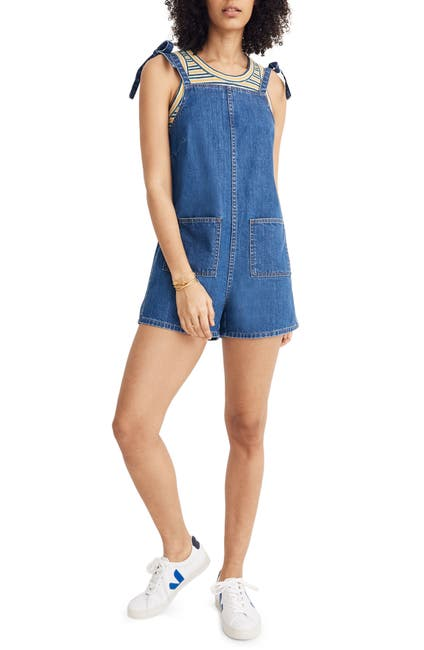 Image of Madewell Tie Strap Short Overalls