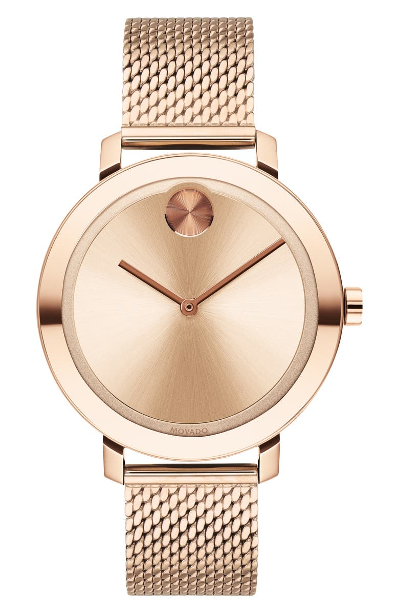 MOVADO Bold Mesh Strap Watch, 34mm, Main, color, ROSE GOLD