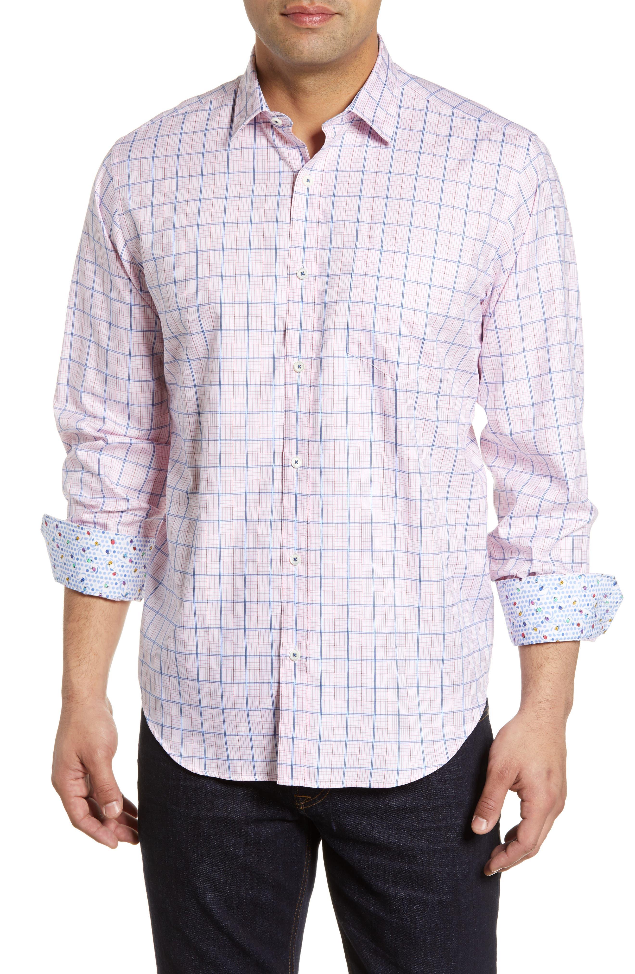 men's bugatchi classic fit check shirt, size xxx-large - pink