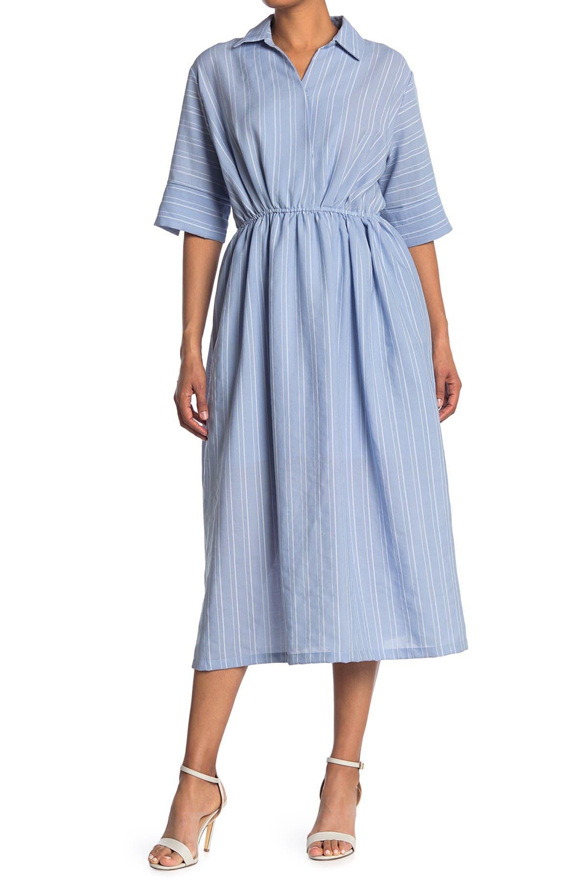 Image of MELLODAY Short Sleeve V-Neck Elastic Waist Midi Dress