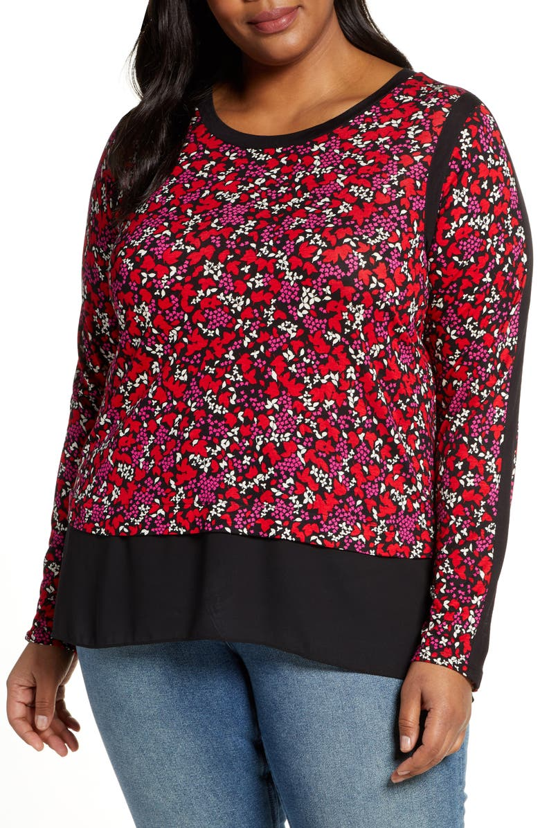 MICHAEL MICHAEL KORS Woodland Flowers Tiered Long Sleeve Top, Main, color, 600