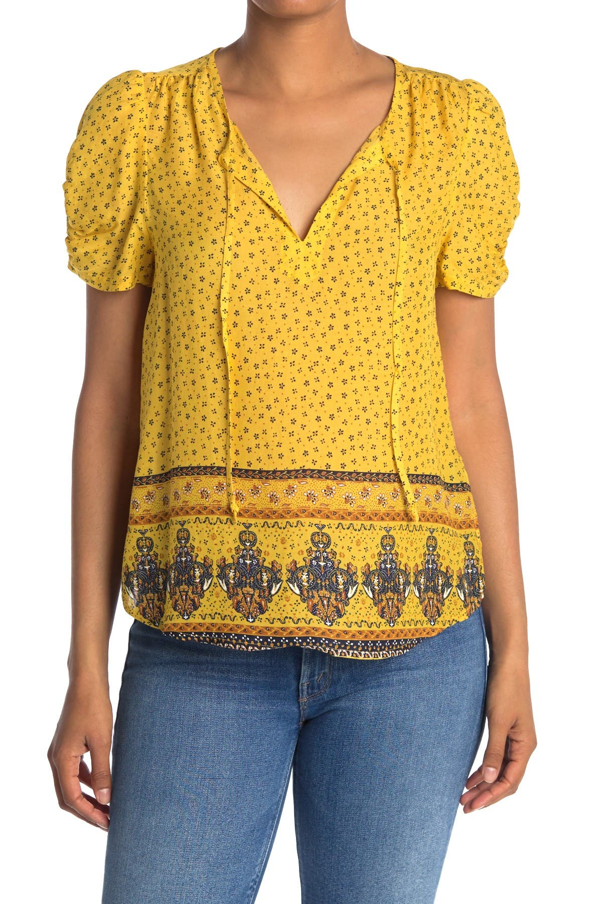 Image of Lucky Brand Puff Sleeve Keyhole Tie Top