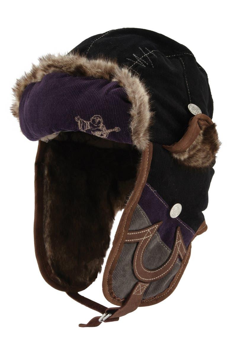 TRUE RELIGION BRAND JEANS Corduroy Trapper Hat, Main, color, 001