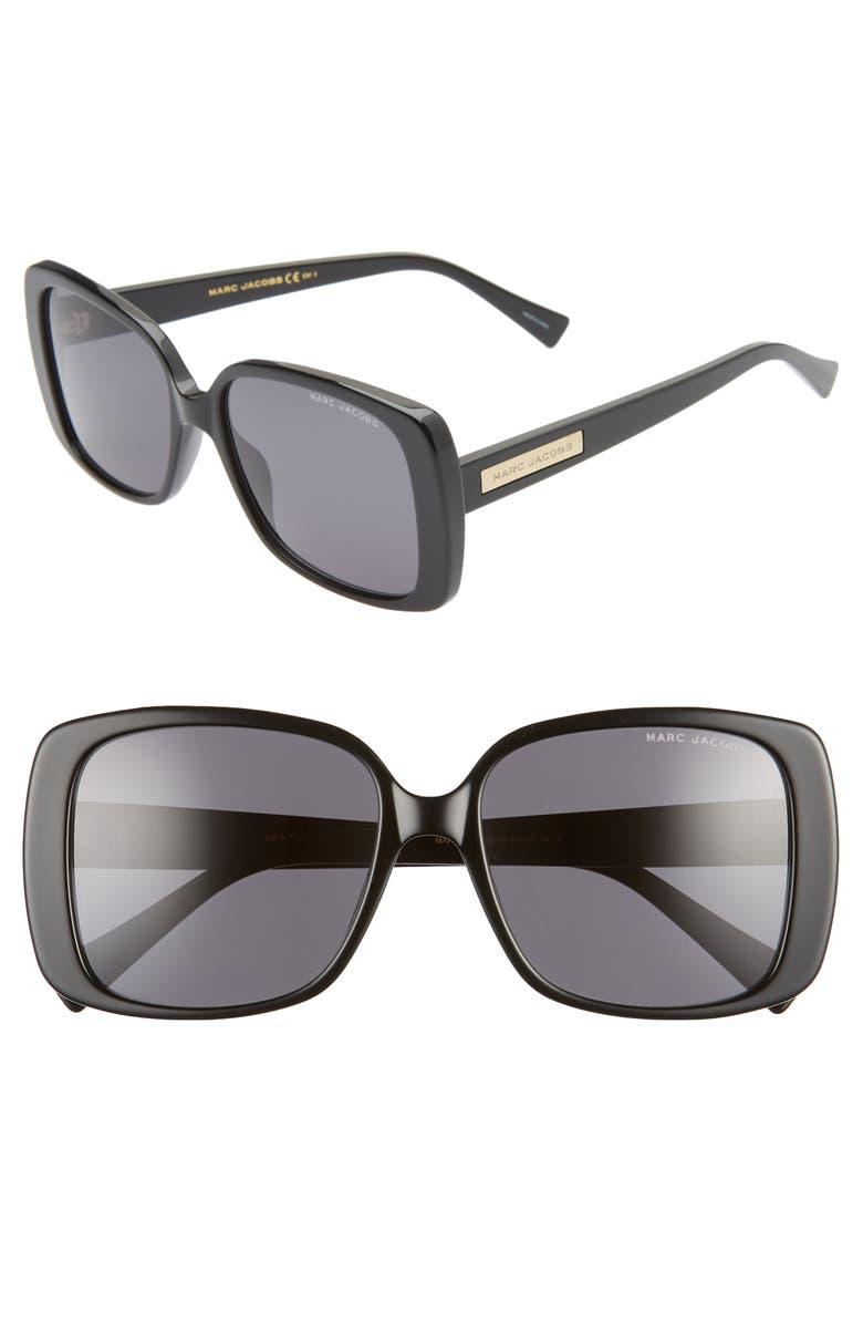 MARC JACOBS 55mm Rectangular Sunglasses, Main, color, BLACK/ GREY BLUE