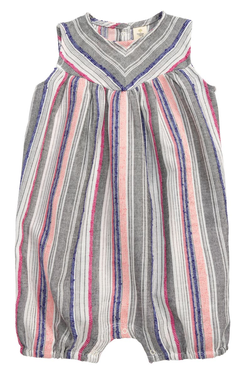 TUCKER + TATE Sightseeing Romper, Main, color, WHITE- GREY MULTI STRIPE