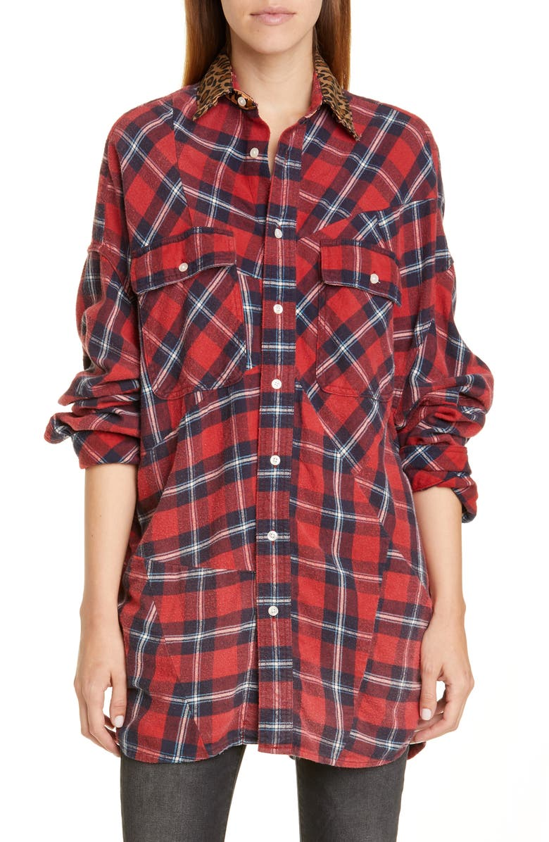 R13 Patchwork Plaid Shirt with Leopard Print Collar, Main, color, 622