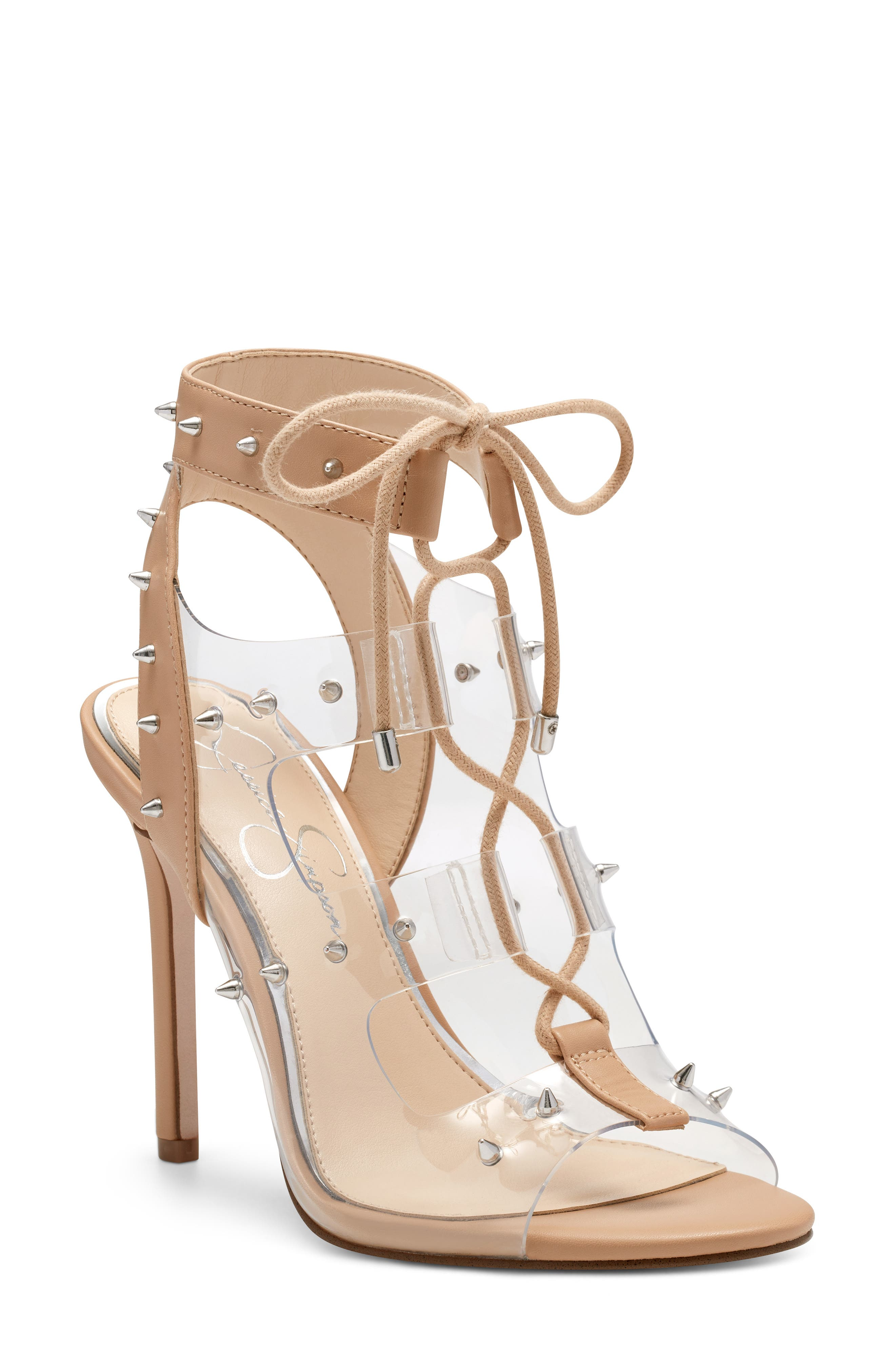 Jirven Spike Clear Strap Cage Sandal