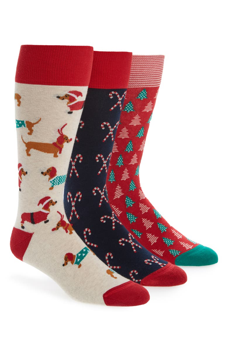 NORDSTROM Men's Shop 3-Pack Holiday Socks, Main, color, DACHSHUND/ TREE/ CANDY CANE