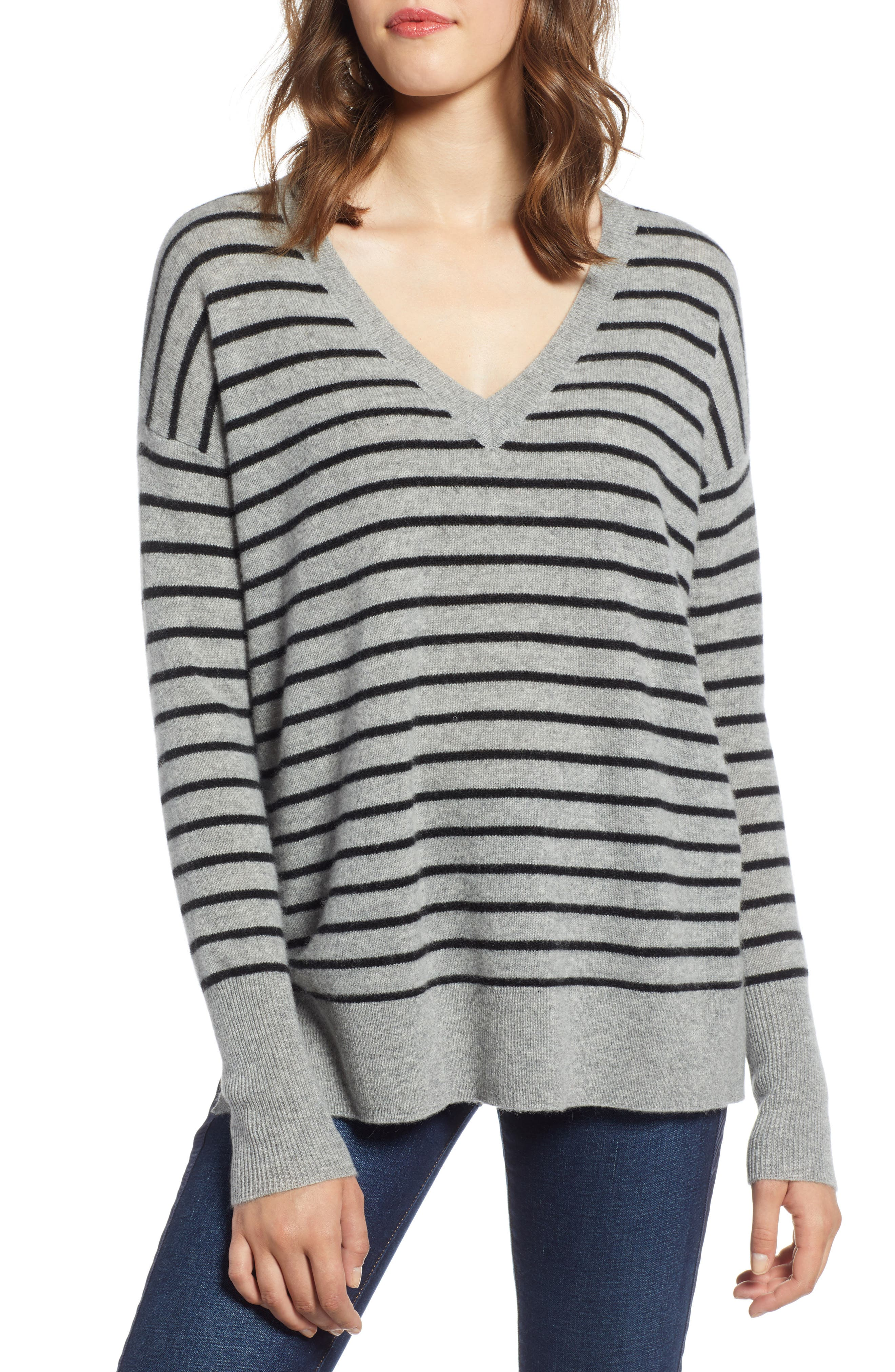 ,                             Relaxed V-Neck Cashmere Sweater,                             Main thumbnail 29, color,                             031