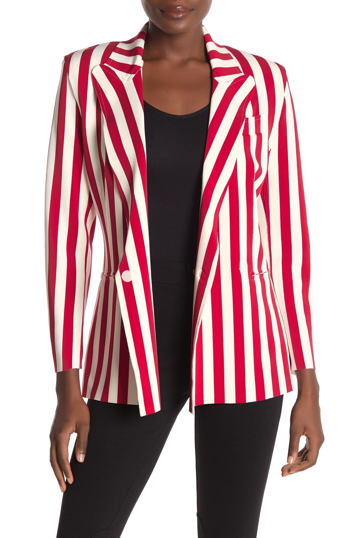 Image of Norma Kamali Stripe Double Breasted Jacket