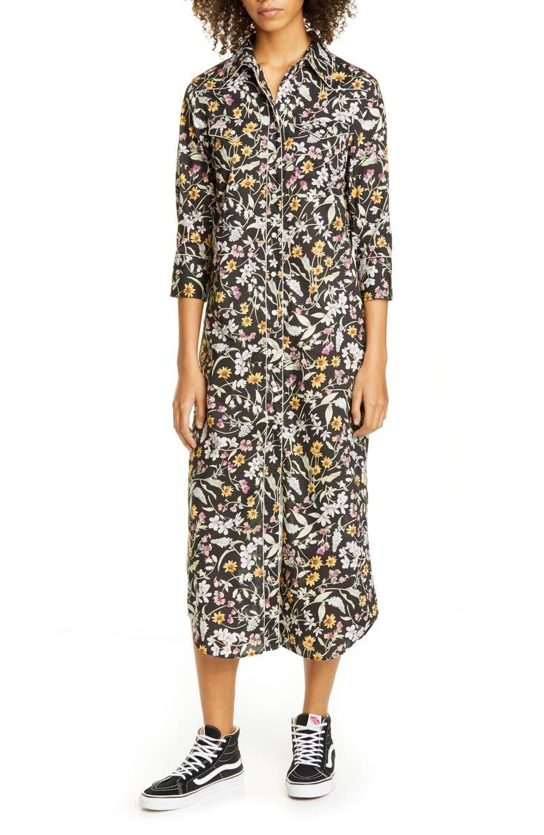 R13 Cowboy Floral Midi Shirtdress, Main, color, BLACK FLORAL