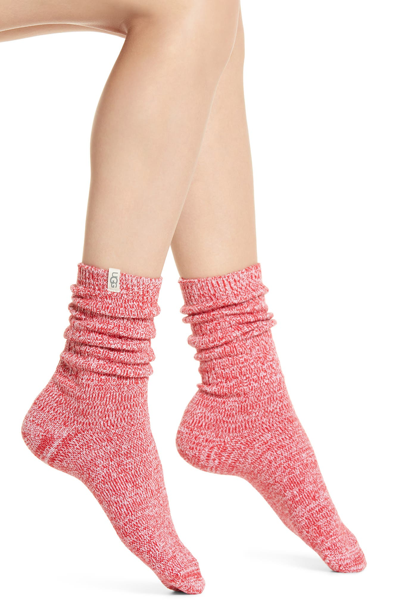 Soft, stretchy ribbed socks have a cozy slouchy fit through the ankles and reinforced heels and toes for durability. Style Name: UGG Ribbed Crew Socks. Style Number: 5207997. Available in stores.