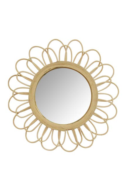 Image of Stratton Home Natural Diana Rattan Wall Mirror